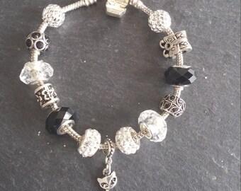 0FRAISDENVOI until 20/11 models of black and silver, rhinestone, owl, cat, gift charms bracelets