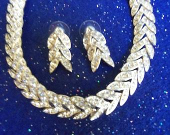 Rhinestone Necklace and Earrings Set - Pierced