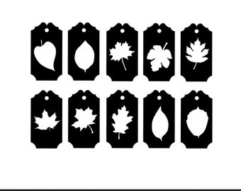 fall leaves gift tags labels svg dxf jpeg png file stencil monogram frame silhouette cameo cricut clip art commercial use