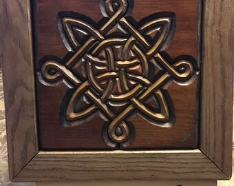 Hand-Carved Wood Intarsia Wall Art Lacy's Celtic Knot