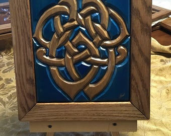 Hand-Carved Wood Intarsia Wall Art Celtic Keyhole Knot Blue