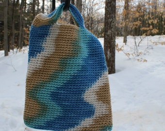 Crochet Book Bag, Small Carryall, Small Girls Crochet bag, Small Crochet Tote