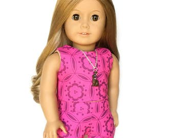 Tank Top, Floral, Fuchsia Pink, Purple, American Doll Clothes, 18 inch Doll Clothes, Spring, Summer