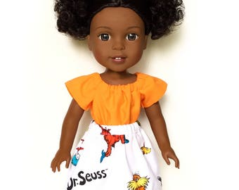 Flare Skirt, Dr Seuss, White, Red, Blue, Rainbow, Fits dolls such as Wellie Wishers Doll Clothes, 14.5 inch, Spring, Summer