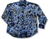 Tie Dye, Large, Button Down Shirt, Blue, Brown, Navy Scrunch, Long Sleeve, 100% Cotton