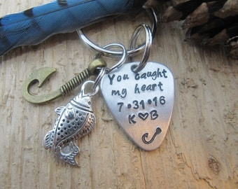 boyfriend gift, Guitar pick key chain, fishing key chain,Anniversary gift,gift for husband,I love you gift, hand stamped key chain, custom