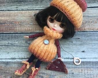Blythe outfit, blythe dress, , doll dress, blythe clothes, doll knitted set, blythe couture