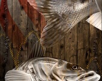 Ghost Walleye Fish Flag Wood LAMINATED Cornhole Wrap Bag Toss Decal Baggo Skin Sticker Wraps