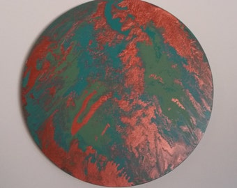 Circle Canvas Acrylic Marble Effect Painting - Metallic Copper, Jade & Teal