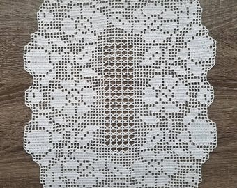 Oval white floral filet crochet doily, tablecloth