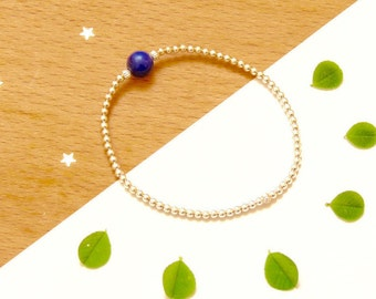 Summer night, lapis lazuli and Silver 925 on elastic bracelet