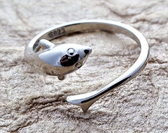 Sterling Silver Dolphin Ring, Gift for Swimmers, Swim Team Coach Gift Ring, Swimming Sports Fitness Jewelry, Sea Ocean Charm, Porpoise Ring