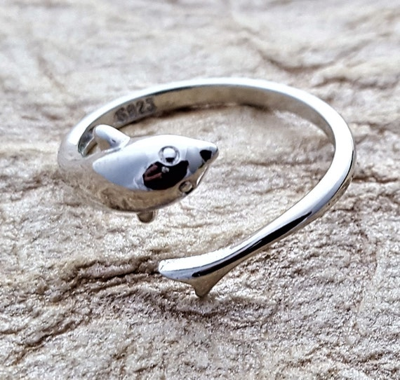 Sterling Silver Dolphin Ring, Dolphin Charm Jewelry, Gifts for Swimmers, Sports Fitness Jewelry, Sea Creatures Charm, Ocean Porpoise Ring
