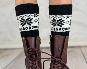Black Snow Flake Boot Cuffs