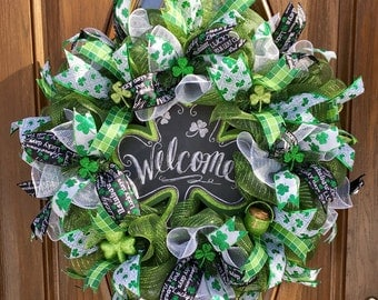 St  Patrick's Day Welcome Wreath - St  Patrick's Door Wreath - Shamrock Wreath - St Patrick's Mesh Wreath - Deco Mesh Welcome Wreath