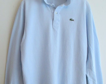 90's Lacoste Light Blue Long Sleeve Polo