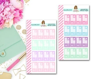 Bill Due Personal Size Planner Stickers