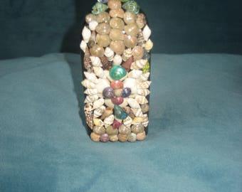Seashells on a 1930s Antique Brown Glass Medicine Bottle/Beach Decor