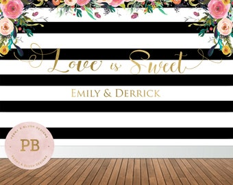 Digital Printable Wedding Backdrop, Bridal Shower Backdrop, Floral Backdrop, Sweet Table Backdrop, Black and White