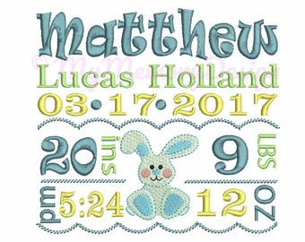 Bunny  Personalized Baby Birth Announcement Embroidery Design - Boy Subway Art - EMAIL DELIVERY 0-48 hour - NOT instant download