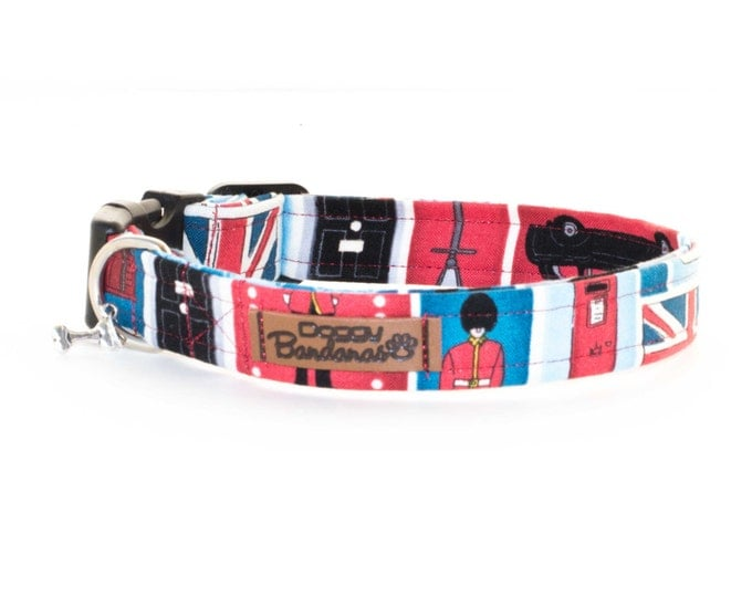 UK Dog Collar London Flag Dog Collar Red Blue Dog Collar British Male Dog Collar Fabric Custom Dog Collar Nylon Handmade Dog Collar For Boy