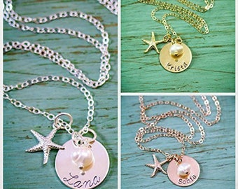 SALE • Starfish Necklace Custom Beach Wedding Jewelry • Gold Starfish Small Rose Gold Beach Necklace • Small Starfish Gift Summer • SU17