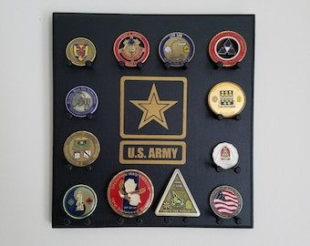 Military Challenge Coin Display Rack - Army - Wall-mounted