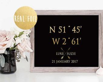 Gold foil, custom coordinates print, GPS coordinates, latitude longitude, wedding gift, gift for couple, longitude sign, wall decor