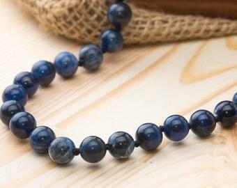 Navy blue sodalite necklace gemstone necklace harmony necklace gift stone power zodiac necklace statement necklace handmade necklace cover