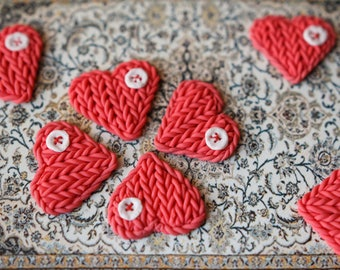 7 Knitted hearts of polymer clay for craft and for decoration