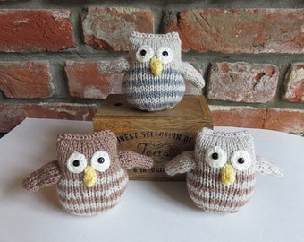Soft Stripey Brown / Grey Hand Knitted Owl