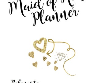 Maid of Honor Planner | Glam Black & Gold | Printable, Digital