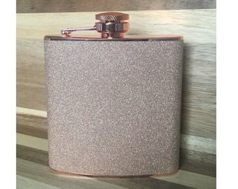 Glitter Copper Stainless Steel 6 oz Liquor Hip Flask- Gifts for Bridesmaids, Birthday, Wedding Favor - BF-F1001