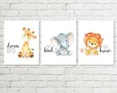 Safari-Kindergarten-Print, Giraffe Dream Big, Elephant Art, Löwe sein tapferer Baby Dusche Geschenk druckbare Wandkunst 5 x 7 8 x 8 8 x 10 11x14 herunterladen