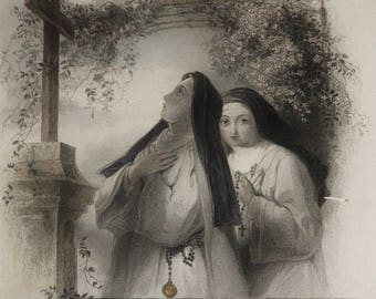 "1838 Original ""Clematis"" Engraving with Two Catholic NUNS Wearing Religious Habit by T. Uwins"