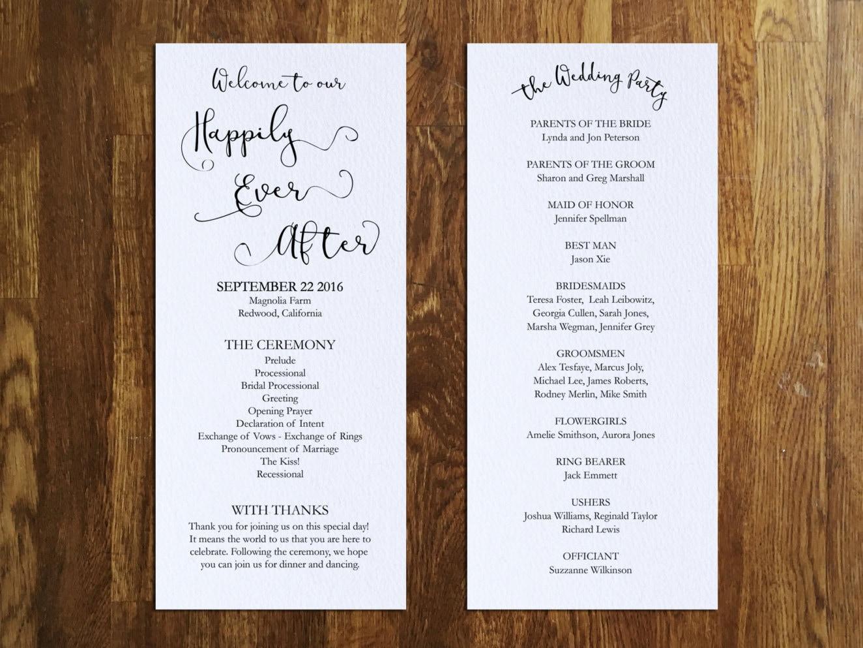 happily ever after wedding program template printable wedding 128270zoom