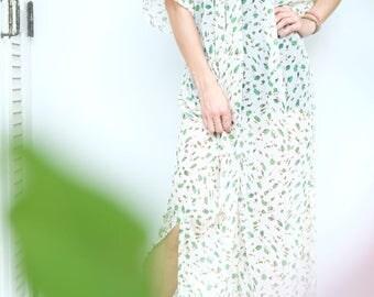 Beige Green Leaves Chiffon Beach Dress Swimsuit Bikini Cover Up | Casual Maxi Short Sleeve Dress | Spring/Summer Dress