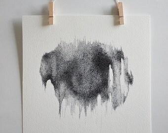 Millions of dots - Abstract Stippling Art - Original pen & ink drawing - shape