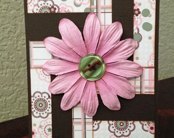 Handcrafted Quilt Card, All Occasion Card, Feminine Card, Blank Card, Thank You, A2 Card, Pink and Brown