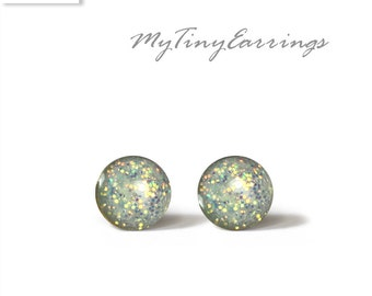 6mm Stud Earrings Mini  grey Sparkly Petite Tiny Shimmery - Gold Plated Brass Posts plus High Quality Epoxy Resin N164