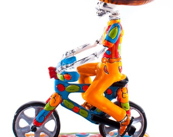 Panadero en bicicleta, baker on a bicycle mexican culture colorful ceramic talavera, day of the dead inspired figurine