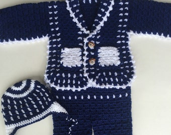 Handmade crochet baby boy outfit, White and navy blue 3 pieces outfit,Sweater,pants and hat baby boy set. Ready to ship in one business day