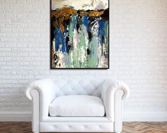 Blue Wall Art Print, Large Print, White And Blue Modern Abstract Living Room Art, Bedroom Art, Blue Canvas Art, Large Blue Art Print
