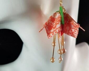 Flower earrings, long flower earrings, long boho earrings, orange flower, dangle earrings, long handmade earrings, statement earrings