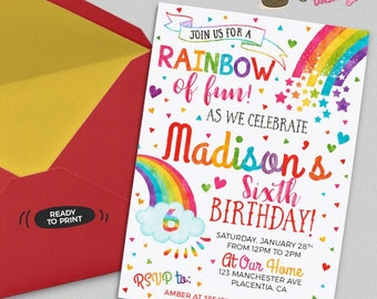 Colorful Rainbow Birthday Party invitations DIY Rainbow printable invite Rainbow birthday invitation Rainbow party invitation watercolors