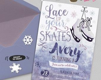 Ice Skating Birthday invitation Winter birthday invitation Printable Ice Skate invitation Ice Skating invitation watercolor invitation