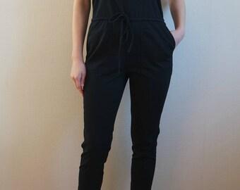 Vintage Women's  Black  Jumpsuits, Sleeveless Jumpsuits,  Size S/M