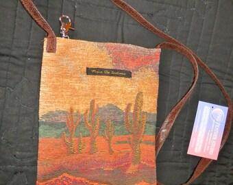 Crossbody Desert Tapestry Purse w/key fob