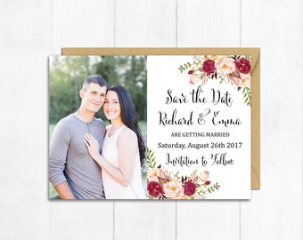 Burgundy Photo Boho Save the Date Card, Printable Floral Marsala Photo Save the Date, Photo Save the Date, Bohemian, Wedding, Download 120-W