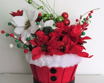 Whimsical, Santa Themed Floral Basket Arrangement Centerpiece, featuring Holly Berries
